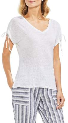 Vince Camuto Drawstring Shoulder V-Neck Tee (Regular & Petite)