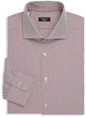Kiton Men's Spread Collar Check Shirt