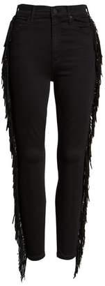 Mother The Swooner High Waist Side Fringe Ankle Skinny Jeans