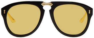 Gucci Black and Gold Fold-Up Aviator Sunglasses