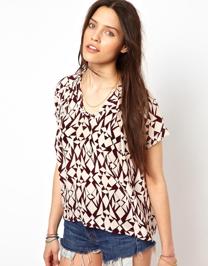 American Vintage Round Neck Top in Printed Silk