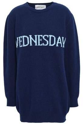 Alberta Ferretti Intarsia Wool And Cashmere-blend Sweater