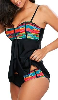 Imilan Women's Tankini Top Brief Bottom Padded Push Up Swimwear Beachwear
