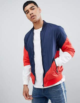 Pull&Bear Bomber With Color Block In Navy