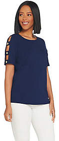 Dennis Basso Luxe Crepe Lattice Sleeve Topw/Button Trim