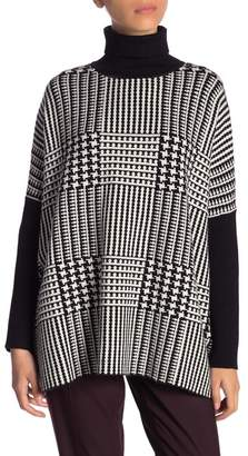 Joseph A Patterned Turtleneck Poncho Sweater (Petite)