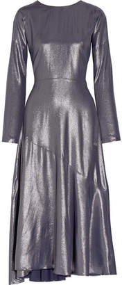 Cédric Charlier Wrap-effect Lamé Midi Dress - Gunmetal