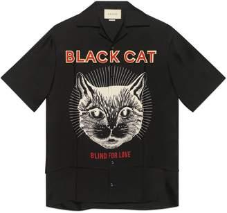 Gucci Black Cat print silk bowling shirt