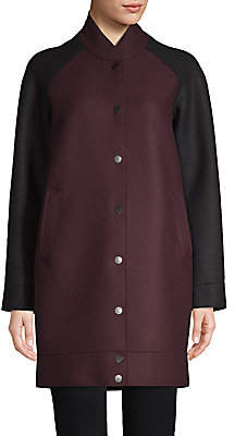 Harris Wharf London Women's Virgin Wool 2-Tone Long Bomber
