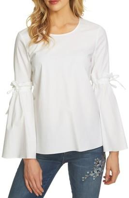Women's Cece Tie Bell Sleeve Poplin Blouse $89 thestylecure.com
