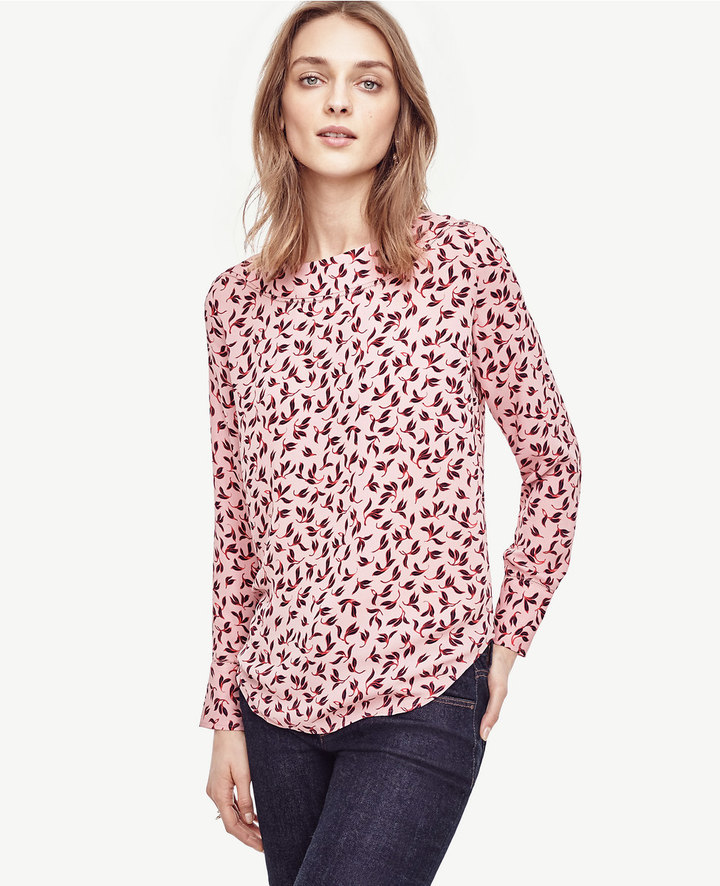 Ann Taylor Leafy Perforated Boatneck Top