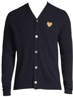 Comme des Garcons Gold Heart Wool Cardigan