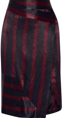 By Malene Birger Jamuli Wrap-effect Striped Washed-satin Midi Skirt - Midnight blue