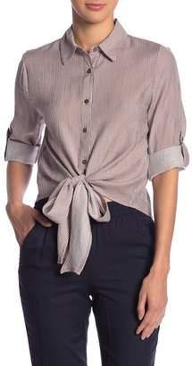 Blu Pepper Waist-Tie Cropped Stripe Top