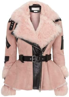 Alexander McQueen Shearling Peplum Waist Jacket
