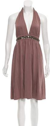 Velvet Embellished Halter Dress w/ Tags
