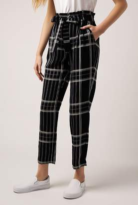 Azalea Ruffle Tie Waist Plaid Pants