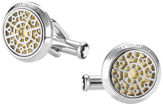 Montblanc Gold-Leaf Inlay Round Cuff Links