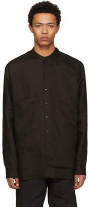 Isabel Benenato Black Linen Half Double Body Shirt