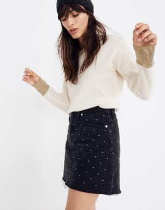 Madewell Rigid Denim A-Line Mini Skirt: Metallic Dots Edition