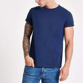 River Island Blue rolled sleeve pocket T-shirt