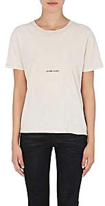 Saint Laurent Women's Distressed Cotton T-Shirt-Light, Pastel pink