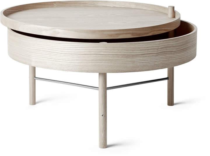 Menu - Turning Table, Eiche weiß / schwarze Chromstreben