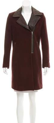 Mason Leather Trimmed Wool Coat