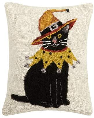 The Holiday Aisle Mcgray Cat with Witch Hat Hook Wool Lumbar Pillow
