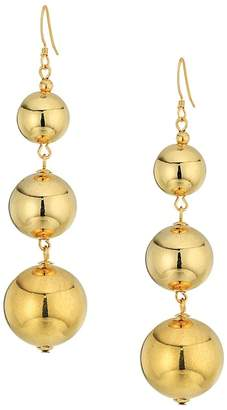 Kenneth Jay Lane Polished Gold 3 Small To Large Bead Drop Fishook Top Ear Earrings Earring