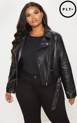 PrettyLittleThing Plus Black PU Biker Jacket