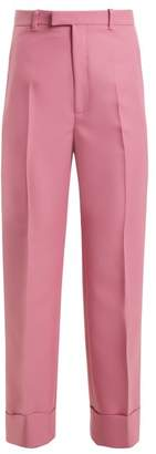 Gucci - High Rise Straight Leg Twill Cropped Trousers - Womens - Pink