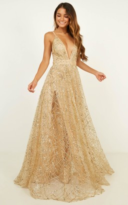 Showpo Eternal Sunshine maxi dress in gold sequin - 12 (L) Formal