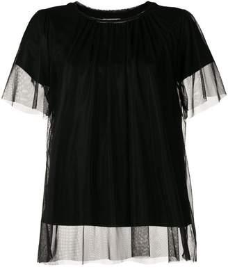 Semi-Couture Semicouture mesh overlay T-shirt