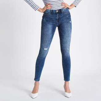 River Island Womens Mid blue distressed Molly jeggings
