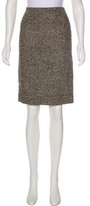 Akris Tweed Knee-Length Skirt Brown Tweed Knee-Length Skirt