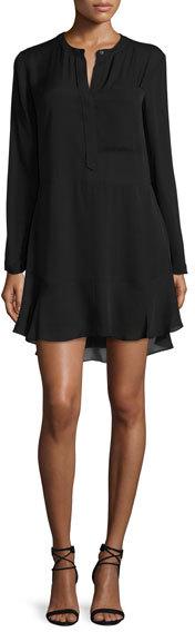 A.L.C.A.L.C. Montana Long-Sleeve Silk Flounce Dress, Midnight