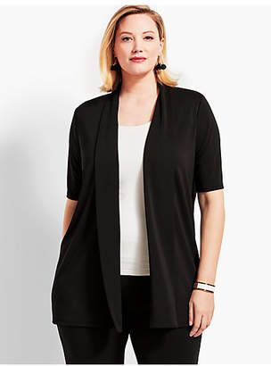 Talbots Womans Exclusive Elbow-Sleeve Flyaway Knit Jersey Cardigan