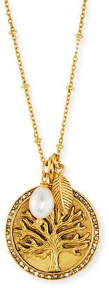 Sequin Tree Talisman Medallion Pendant Necklace