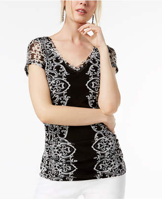 INC International Concepts I.N.C. Lace Ruched Mesh V-Neck Top, Created for Macy's