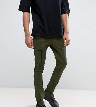 Asos Design TALL Super Skinny Fit Pants with Zip Cargo Pockets in Khaki