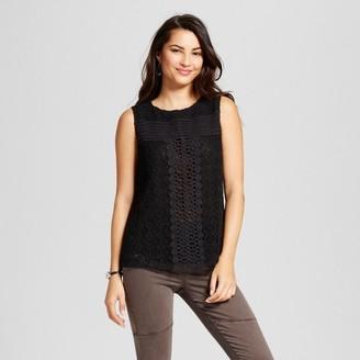 JohnPaulRichard Women's Knit Tank with Crochet Overlay $27.99 thestylecure.com