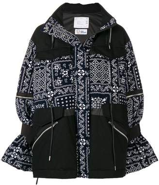 Sacai floral embroidered padded jacket