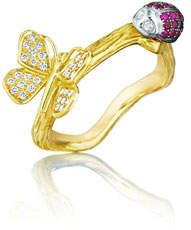 Mimi So Wonderland 18k Butterfly & Ladybug Ring, Size 5