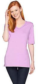 C. Wonder Essentials Slub Knit V-neck ElbowSleeve Tunic
