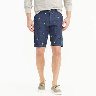 """J.Crew 10.5"""" Embroidered Seahorse Chambray Short"""