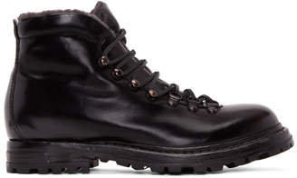Officine Creative Black Shearling Kontra Hiking Boots