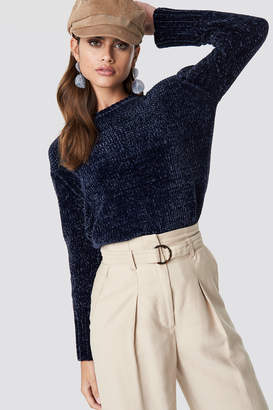 NA-KD Na Kd Chenille Knitted Sweater Navy