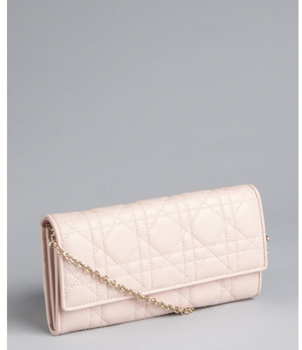 Christian Dior pale pink cannage matte leather 'Lady Wallet' convertible wallet