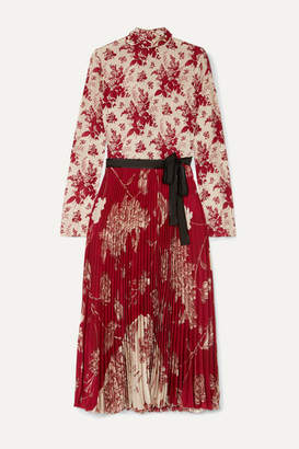 RED Valentino Pleated Floral-print Crepe And Silk-satin Midi Dress - Ivory